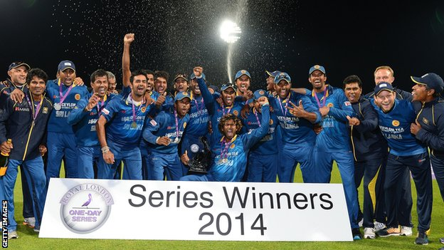 Sri Lanka celebrate with the one-day series trophy