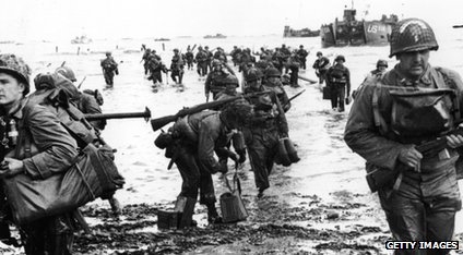 US troops landing on beach in Normandy, D-Day.