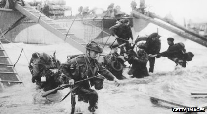 D-Day landing - troops getting off boats in France