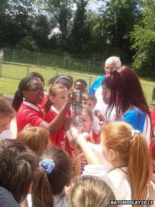 Children with the baton at Dartford