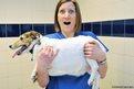 Veterinary nurse Kate Scott holds Jack Russell Terrier Millie
