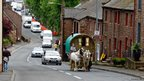 People arrive for the start of the Appleby Horse Fair