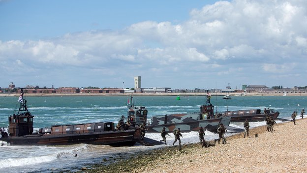 British Marines and their Dutch counterparts demonstrate a beach assault near Southsea Common