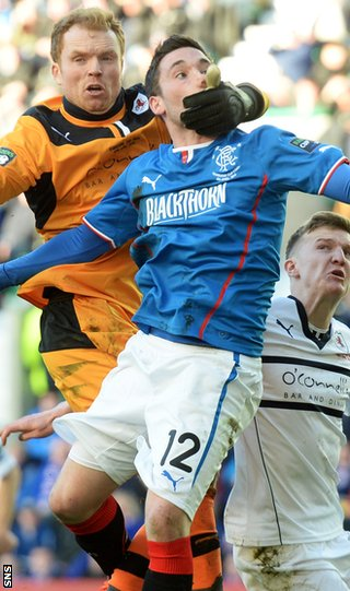 Raith Rovers and Rangers players clash during the Ramsdens Cup final