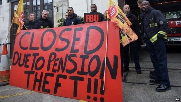 Firefighters on strike in central London on Friday