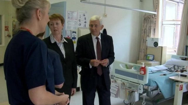 Peter Higson talking to hospital staff