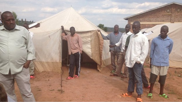 Ex-M23 rebels in the camp in Ngoma