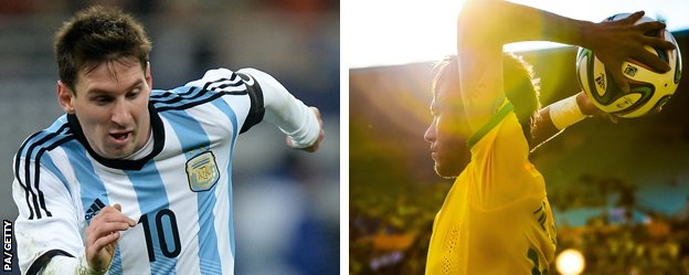 Argentina forward Lionel Messi and Brazil striker Neymar