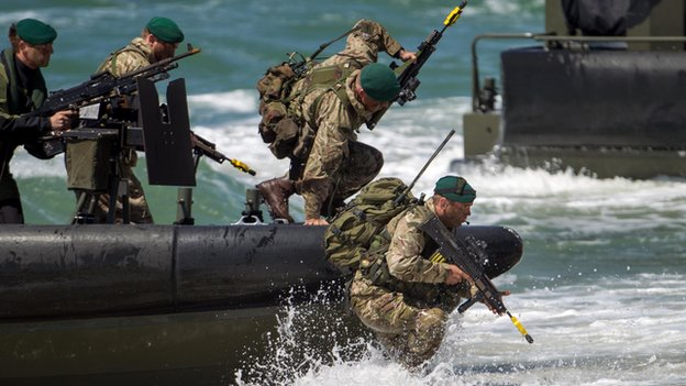 British Marines and their Dutch counterparts demonstrate a beach assault