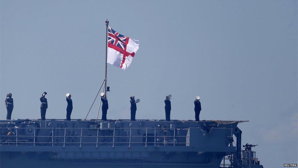 Crew of HMS Bulwark on deck