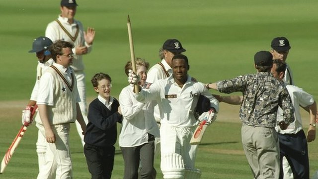 Brian Lara receives congratulations after his world record 501 not out at Edgbaston, 6 June 1994