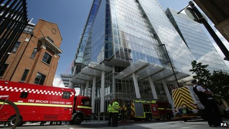 Fire engines outside the Shard