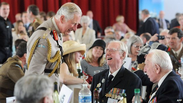 Prince Charles talking to veterans