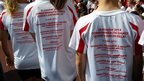 Children in T-shirts promoting the Kent baton relay events