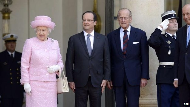 The Queen, Duke of Edinburgh and French President Francois Hollande  at the Elysee Palace in Paris on 5 June 2014.