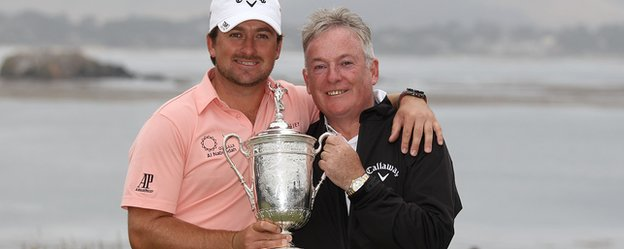 Graeme McDowell celebrates winning the US Open 2010