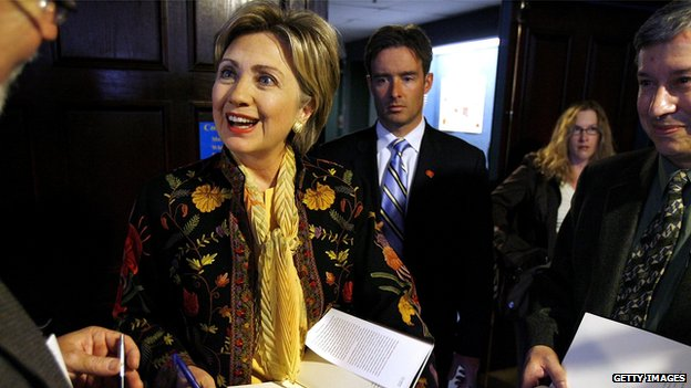 Clinton shown in Washington in 2006 with one of her previous books