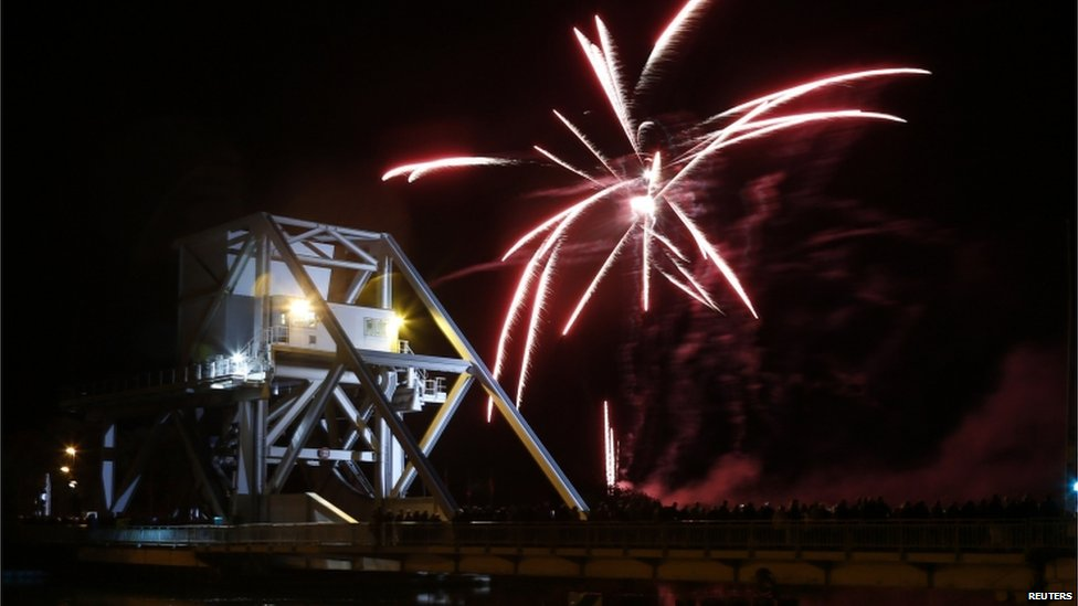 Fireworks over Pegasus Bridge in France