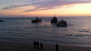 Landing craft at a D-Day beach