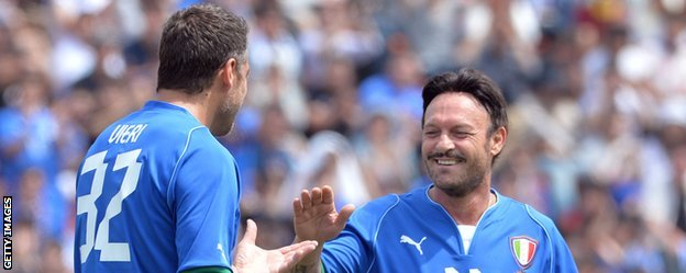 Salvatore Schillaci and another former Italy striker Christian Vieri playing in a charity game in 2013