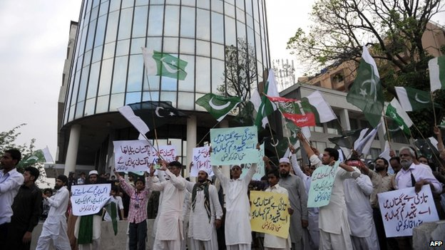 A protest against Geo TV outside the company's headquarters in Islamabad (April 2014)