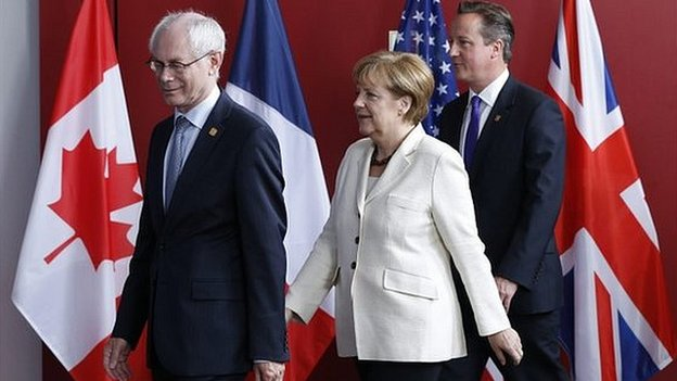 David Cameron (right), Angela Merkel and Herman van Rompuy, president of the European Council