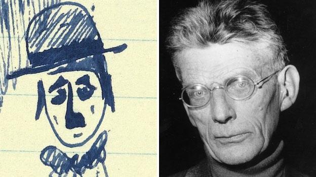 Charlie Chaplin doodle and Samuel Beckett