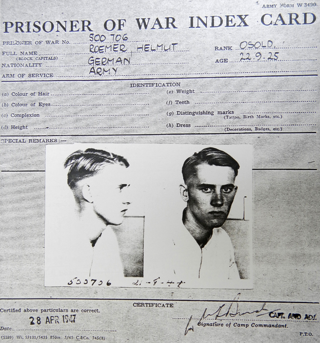 Roemer's prisoner of war card
