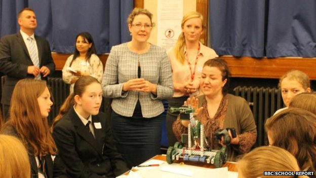 Girls from Highams School listen to a talk from Jenny Willott MP