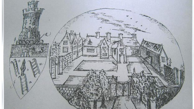 The mansion depicted on a drawing by Thomas Dinely in 1684