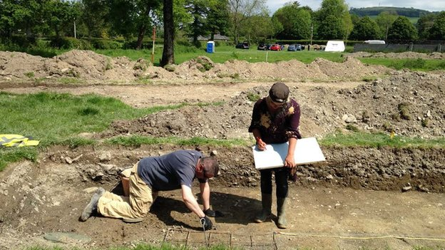 Archaeologists working on the Llanllyr nunnery excavation