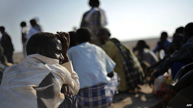 Migrants waiting to board a boat to Yemen in Djibouti