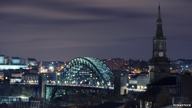 Newcastle upon Tyne at night