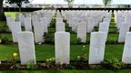 Lines of graves in Normandy, France