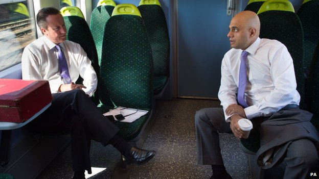 David Cameron and Sajid Javid