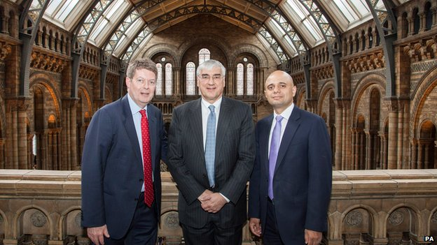 Museum Director Dr Michael Dixon, Sir Michael Hintze and Secretary of State for Culture, Media and Sport Sajid Javid at the Natural History Museum, London