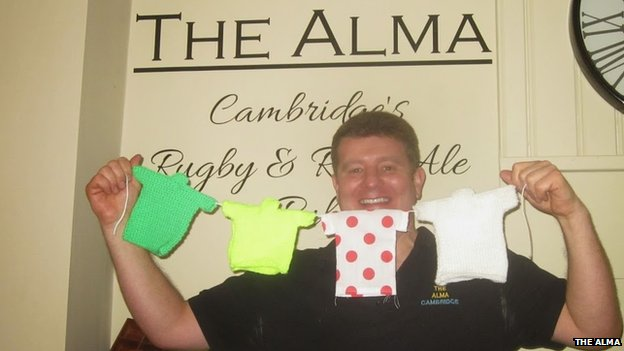Knitted bunting at The Alma pub in Cambridge