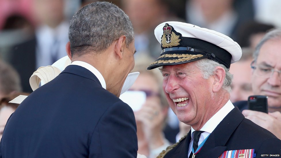 Prince Charles and Barack Obama share a joke