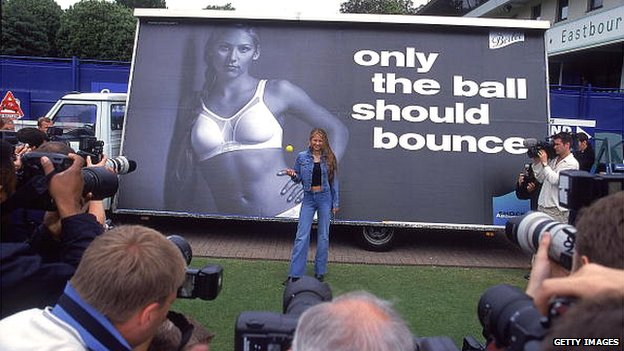 Anna Kournikova launches a bra advertising campaign at Eastbourne in 2000
