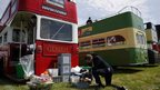 Racegoer prepares Pimms at the Epsom Derby festival