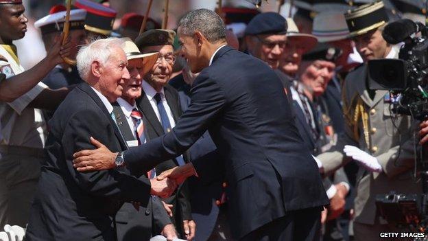 President Obama greets veterans