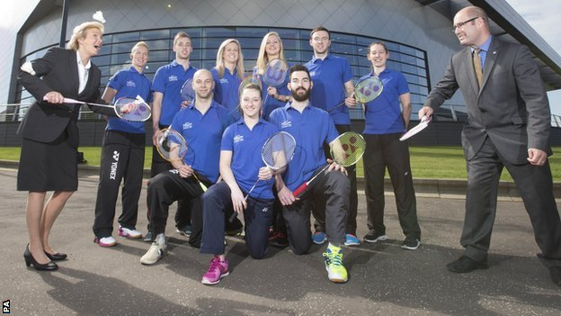 The Scotland badminton team for Glasgow 2014