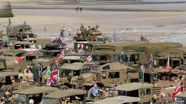 Military vehicles on Gold Beach