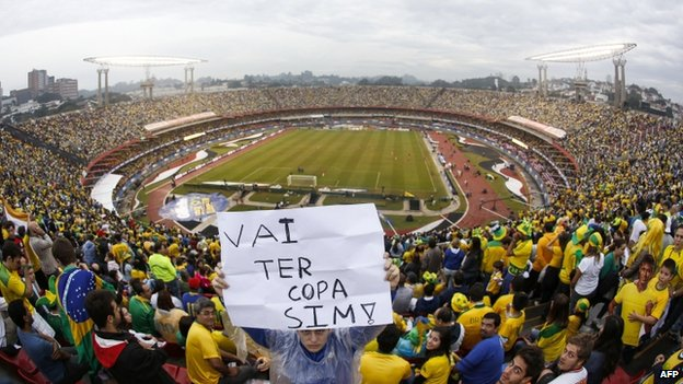 Brazilian fans ahead of match at the Morumbi stadium