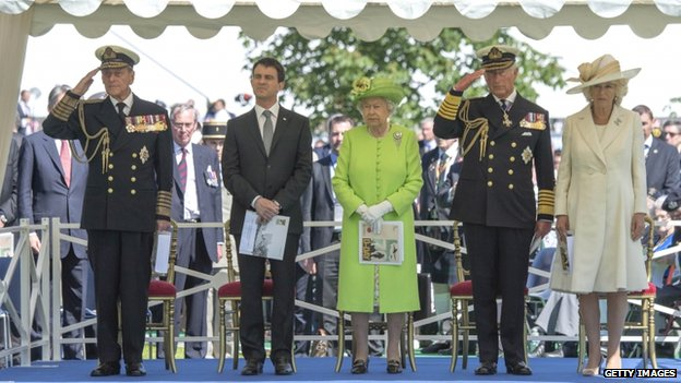 Duke of Edinburgh, French Prime Minister Manuel Valls, the Queen, Prince Charles and the Duchess of Cornwall