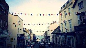 Bunting in Lyme Regis