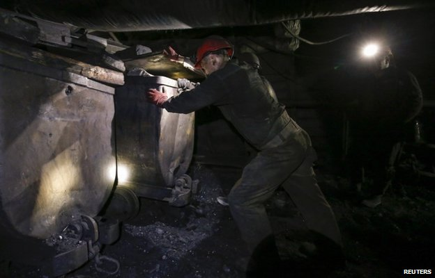 Miners at the Gorniak 95 coal mine near Donetsk