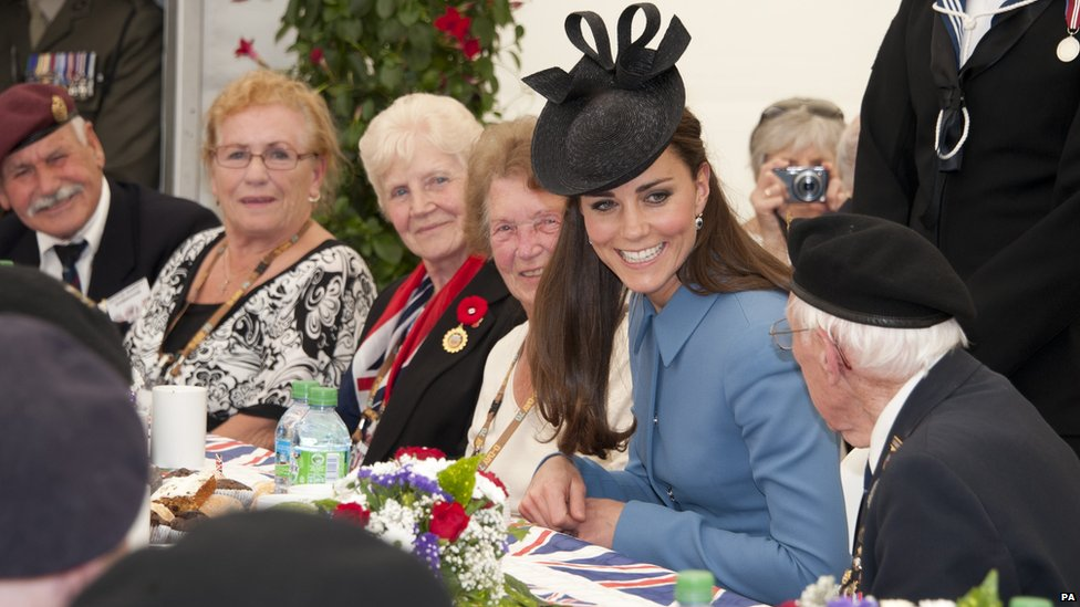 Duchess of Cambridge having tea with veterans