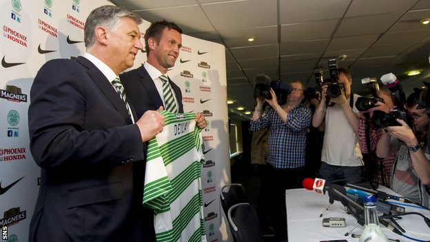 Celtic chief executive Peter Lawwell and new manager Ronny Deila