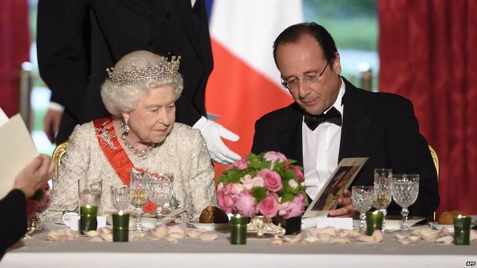 The Queen and President Francois Hollande